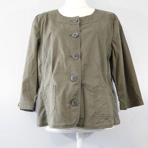 J. Jill Olive Green Cotton Blazer - 16 Petite